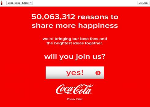 Fifty Million Coca-Cola Fans on Facebook Invited to Make the World a Happier Place