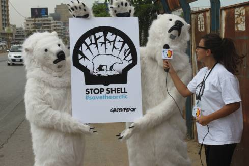 Greenpeace in Lebanon Takes Action to Save the Arctic