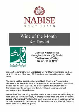 Nabise Wine Tasting at Tawlet