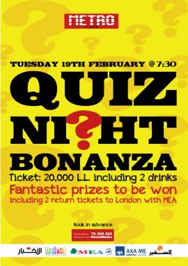Quiz Night Bonanza at Metro Al Madina