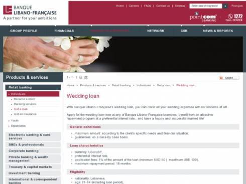 Wedding Loan at Banque Libano-Française (BLF)
