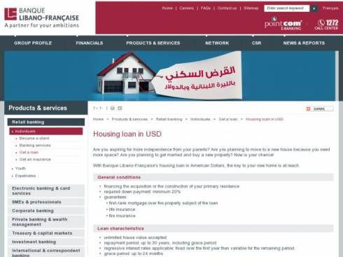 Housing Loan in USD at Banque Libano-Française (BLF)