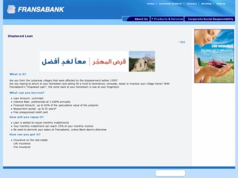 Displaced Loan at Fransabank