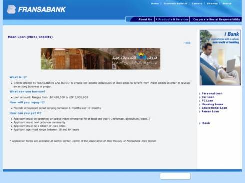 Maan Loan (Micro Credits) at Fransabank