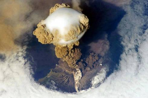 Satellite Image of a Volcanic Eruption