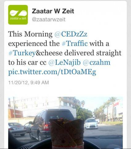 When in Traffic, Choose Zaatar W Zeit